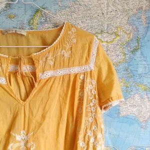 Zara TRF Orange White Embroidered Tunic Blouse M